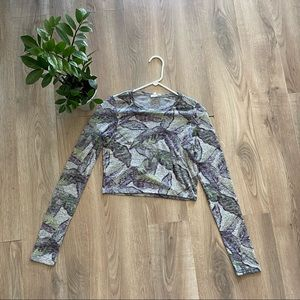Wilfred Light Knit Grey & Floral Crop Top